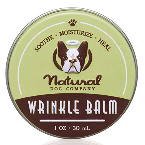 Natural Dog Company Wrinkle Balm, Cleans and Protects Dog Wrinkles and Skin Folds, Perfect for Bulldogs, All Natural, Organic Ingredients, 1oz Tin, Packaging May Vary