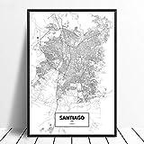 Leinwanddruck,Santiago De Chile Schwarz Weiß