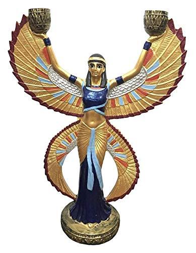 WQQLQX Statue ISIS Statue Decoration, ägyptische Göttin Skulptur Handwerk Modell Harz Kerzenhalter Gemalte Sammlung Ornamente Dekoration Geschenke Skulpturen