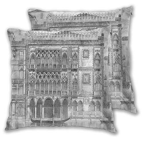 Youdeem-home Antique Decorative Throw Pillow Covers Engraving of Grand Canal for Sofa Bedroom Car 16' x 16' Set of 2 (Insert Not Included)