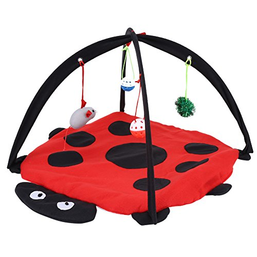 Vobor Multifunctional Pet Bed with Hanging Toy Ball Collapsible Pet House Cat Activity Play Mat Tent