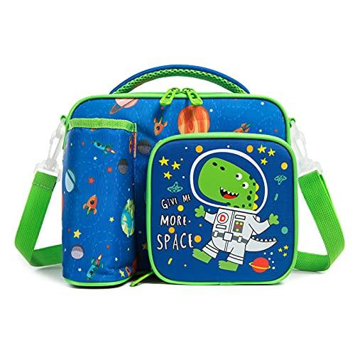 Lunchtasche Kinder Lunch Tasche Kühltasche für Jungen, Brotdose Tasche mit Flaschenhalter & Verstellbarer Schultergurt für Schüler Schule Picknick Reisen, Blau Dinosaurier, BPA-Frei