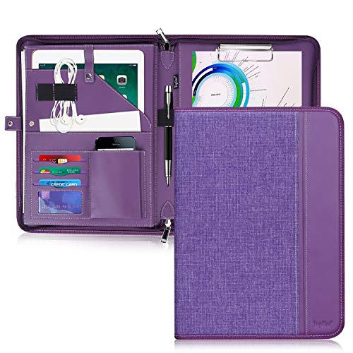 Toplive Zippered Padfolio Portfolio Case,Executive Business Conference Folder Document Organizer with Letter/A4 Size Clipboard, Business Card Holder,Purple