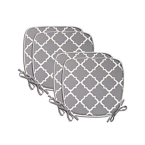Pcinfuns Indoor/Outdoor All Weather Chair Pads Seat Cushions Garden Patio Home Chair Cushions, 17' X 16' (Light Grey(4 Set))