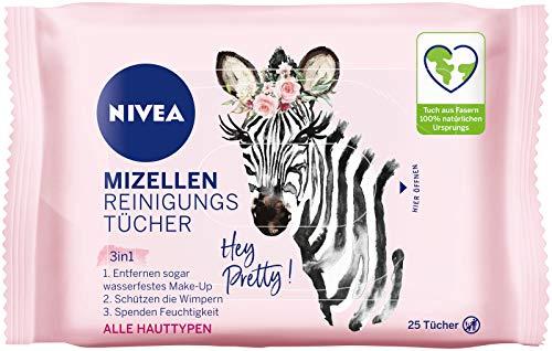 NIVEA 3-in-1 Hey Pretty! Mizellen Reinigungstücher (25 Stück), sanfte Gesichtsreinigungstücher mit Vitamin E, Abschminktücher entfernen Make-Up & wasserfeste Mascara