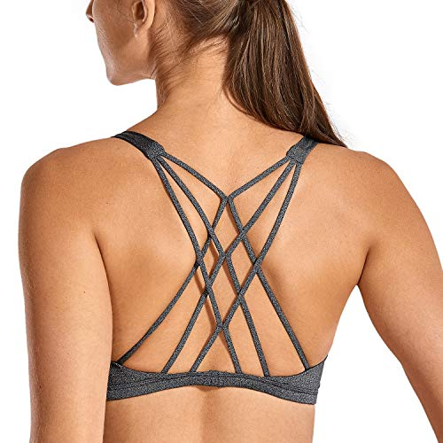 CRZ YOGA Women's Cute Yoga Sports Bra Strappy Sexy Back Padded Low Impact Workout Clothes Bra Tops Charcoal Heather S