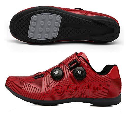 MILKKAR Zapatillas de Ciclismo para Carretera Plus, con Suela de Carbono y Sistema rotativo de precisión.