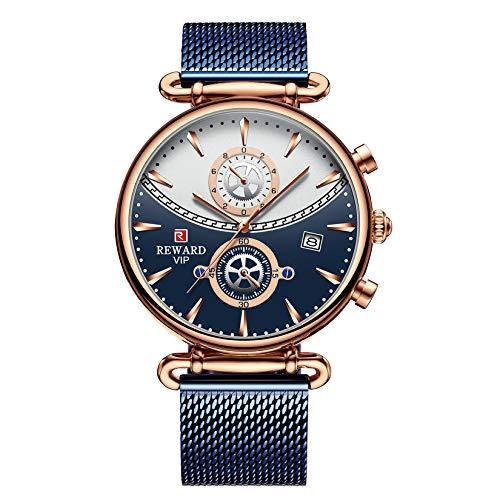 Relojes de Pareja, L'ananas Hombres Mujeres De él y de Ella Anolog de Cuarzo Cinturón de Malla Relojes de Pulsera Couple Watches (Hombres-Azul)