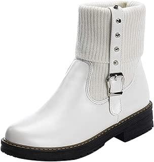 MisaKinsa Women Causal Block Heels Ankle Boots Platform Autumn