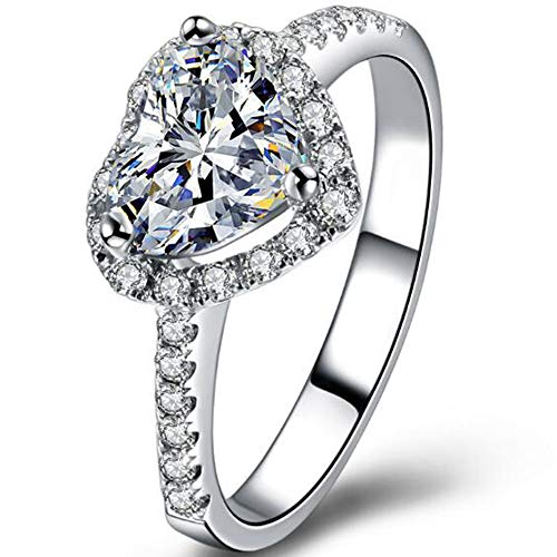 3 Carat Heart Shaped Cubic Zircon Simulated Diamond Solitaire Styel Wedding Enagement Anniversary Ring (Silver, 9)