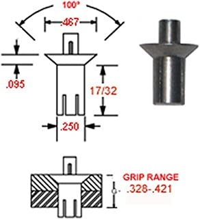 DESIGNED TO ATTACH METAL TO WOOD AND OTHER SOFT MATERIALS PACK OF 100 PIECES 3//16 DIA ALUMINUM GROOVE BLIND RIVET X .197-.343 GRIP RANGE