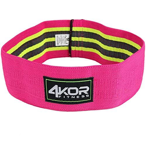 Banda de cadera de 4 Kor Fitness- Resistencia Loop Círculo perfecto para calentamientos dinámicos y activación de caderas y glúteos, Medium, Pink/Grippy