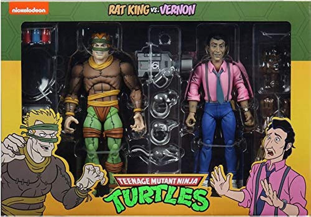 Neca,statuine tmnt tortues ninja cartoon, rat king & vernon, 18 cm 0634482541623