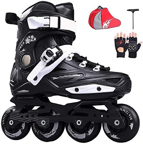 TAIDENG Fitness en línea para niños y niñas al aire libre profesional de alto rendimiento para principiantes patines en línea (color: negro, tamaño: 42 EU/9 US/8 UK/26 cm JP)