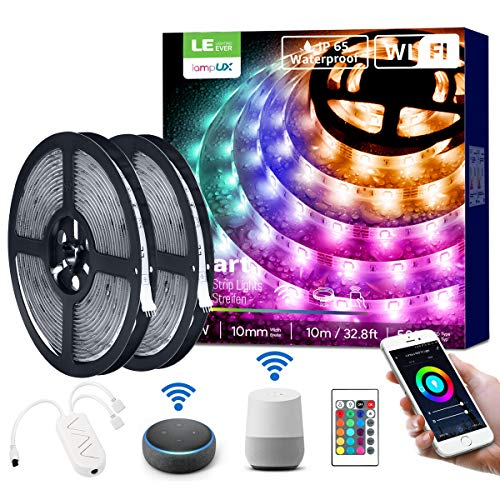 LE LED Strip Lights, WiFi Smart Waterproof Color Changing LED Strips, Works wiith Alexa Google Home, 32.8ft, SMD 5050 LED Rope Light, App&Remote Controlled, Tape Light for Bedroom, Home and Kitchen