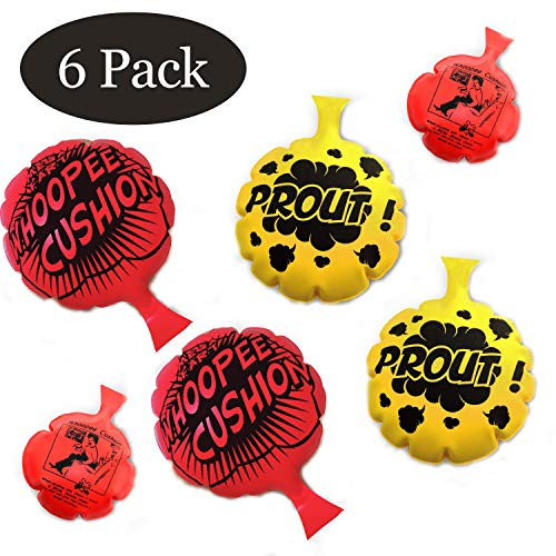 HUALEDI [6 Pack] Whoopee Cushion Set,Woopie Cushion Party Favor for [4,6,8 Inch][No Automatic Inflation][Reward][Prank Gag][Novelty Trick Joke] Gift and Toy for Kids Children Office Home