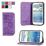 COOVY® Funda para Samsung Galaxy S3 GT-i9300 GT-i9305 Neo GT-i9301 Billetera, Ranuras para Tarjetas, Cierre magnético, Soporte, Protectora de Pantalla | Smile | Color Morado