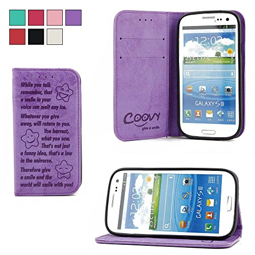 COOVY® Cover für Samsung Galaxy S3 GT-i9300 GT-i9305 Neo GT-i9301 Hülle Wallet Schutz Etui mit Kartenfach, Standfunktion + Schutzfolie - Design Smile   Farbe lila