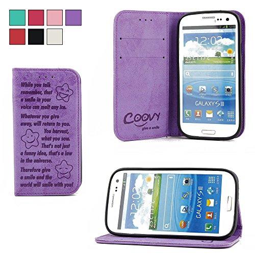 COOVY Funda para Samsung Galaxy S3 GT-i9300 GT-i9305 Neo GT-i9301 Billetera, Ranuras para Tarjetas, Cierre magnético, Soporte, Protectora de Pantalla | Smile | Color Morado