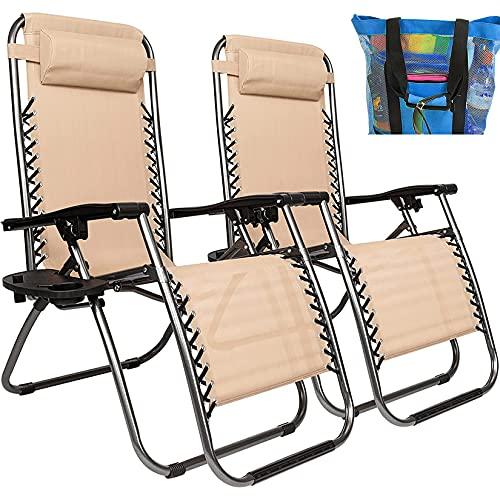 YI'HUI Al Aire Libre Silla Cero Gravedad Madera apoyabrazos Camping salón Patio Acolchado Plegable de jardín sillón reclinable con sostenedor de Taza,con Bolsa de Picnic 2 en 1