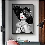 QIAOB Abstrakte Leinwand Wandbild, Frau mit roten Lippen