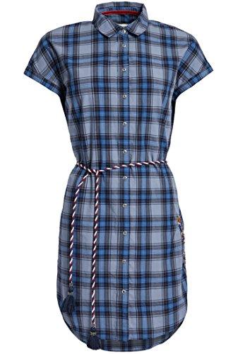 Khujo dames jurk GYDE van puur katoen met bloemen borduurwerk geruit blousejurk met korte mouwen