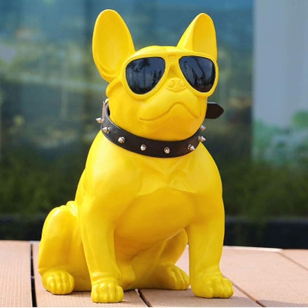 Shoppinglyw, statua in poliresina, raffigurante il  bulldog francese, misure h40xl23xs41, giallo Shoppinglyw2265