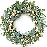 Bibelot 20inch Artificial Eucalyptus Wreath Green Leaves Wreath White Berry Big Berries Wreath for Front Door All Seasons Wreath Year Round Decor Home Decor