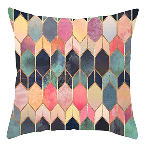 KnBoB Funda de Cojin 40 x 40 cm Multicolor Patrón Geométrico Hexagonal Poliéster Estilo 5