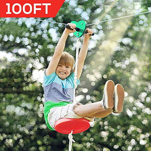 Hi-Na Zip Line Kit 80ft 100ft 120ft Zipline Kits for Backyard Kids Play Set Zipline with Seat Handles Ziplines for Backyards Zipline 100 Foot Zip Line Kit Zip Line Play Set Zipline for Kids (100ft)