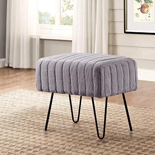 Home Soft Things Serenta Super Mink Faux Fur Ottoman Bench, 19' x 13' x 17' H, Charcoal