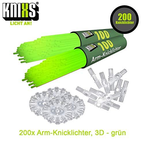 KNIXS 200x Arm-Knicklichter Grün leuchtend inkl. 200 x 3D-Verbinder und je 4 x Ballverbinder und 7-Lochverbinder für Party, Festival, Geburtstag oder als Dekoration, geprüfte Markenqualität