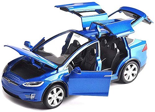 1:32 Scale Car Model X90 Tesla Alloy 1/32 Diecast Model Car w/Sound & Light Pull Back Model Car Toy Cars Kids Toys Collection (Blue)