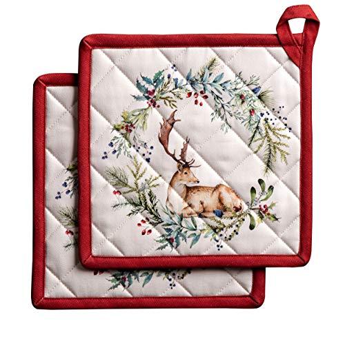 Maison d'Hermine Holly Time Set 100% cotone di 2 presine termoresistenti per barbecue, Cucina, Microonde, Ringraziamento/Natale(20cm x 20cm)
