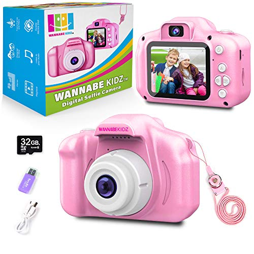 WANNABE KIDZ Kids Camera for Girls Pink SeLFie Camera Upgraded 8x zoom digital cameras 18MP photo 1080 video; Best toy for kids birthday gift for little children and toddlers age 3 4 5 6 7 8 years old