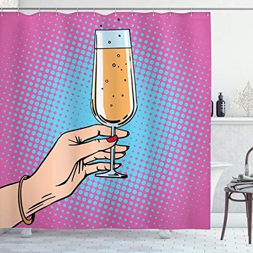 ABAKUHAUS Alkohol Duschvorhang, Pop Art Comic Champagner, mit 12 Ringe Set Wasserdicht Stielvoll Modern Farbfest & Schimmel Resistent, 175x200 cm, Mehrfarbig