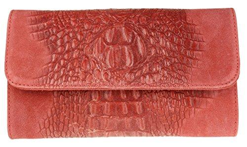 Girly Handbags Cocodrilo del ante del bolso de embrague