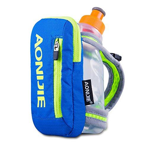 AONIJIE Botella de agua de mano con soporte para botella de agua de 250 ml, bolsa de almacenamiento para senderismo, ciclismo, (azul)