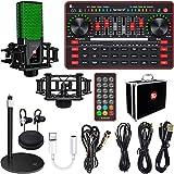 Sound Card Microphone kit, TikTok/YouTube/Live Streaming,Voice Changer Device - Bluetooth Audio Interface Dj Karaoke Sound Mixer Recording Sound Card