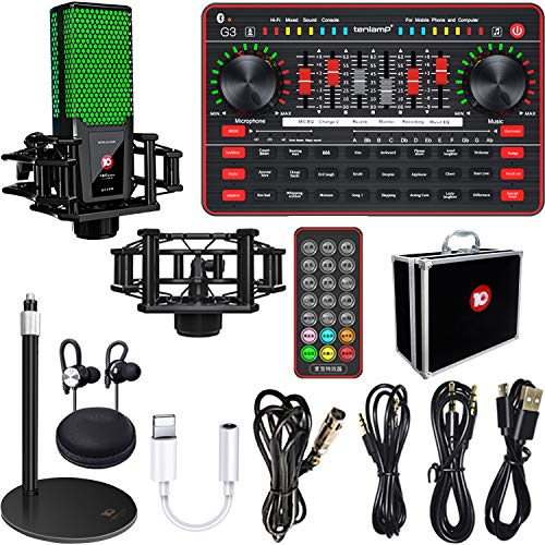Live streaming Sound Card Microphone kit, TikTok/YouTube/Live Stream,Voice Changer Device - Sound Card Audio Interface Bluetooth Mixer Board Dj Sound Mixer, Karaoke Sound Mixer Recording Sound Card…