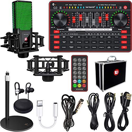 Live streaming Sound Card Microphone kit, TikTok/YouTube/Live Stream,Voice Changer Device - Sound Card Audio Interface Bluetooth Mixer Board Dj Sound Mixer, Karaoke Sound Mixer Recording Sound Card…