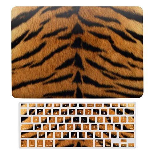 Macbook Air 13 Inch Case(A1369 & A1466, Older Version 2010 2017 Release), Plastic Hard Protective Laptop Case Shell With Keyboard Cover, Tribal Jungle Animal Fur Tiger