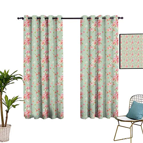 Anyangeight Shabby Chic Luxury Curtain Window Panel Set Retro Spring Blossom Flowers with French Garden Florets Garland Arti Image Blackout Thermal Insulated Liner for Living Room 72'x63' Mint Pink