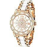 Unique Womens Diamond Watch Rose Gold Plated...