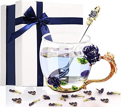 Tazas de Café /Té con Flores de Esmalte, Taza de Té de Vidrio con Cuchara, Diseño de Mariposas y Flores, con Acabado Decorado con Diamantes de Imitación, Regalo para Damas (Rosa Azul 320ml)