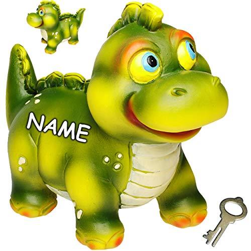 alles-meine.de GmbH 2 Stück _ große Spardosen - Dinosaurier / Dino - Tyrannosaurus Rex - inkl. Name - mit Schlüssel und Schloss - stabile Sparbüchsen - aus Kunstharz / Polyresin ..