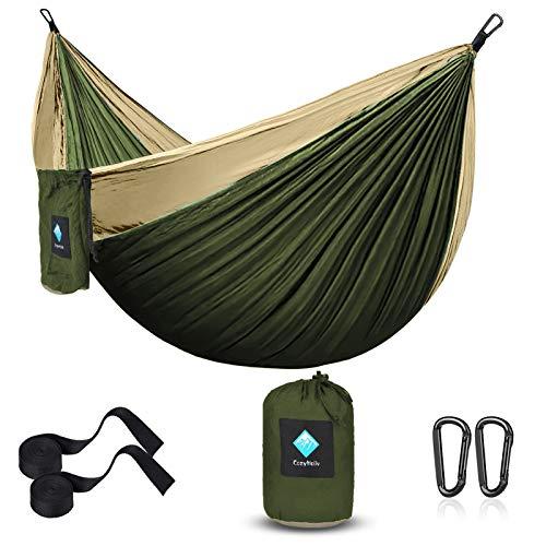 ERUW Hamac Ultra-léger de Voyage Camping, hamacs de Parachute portatifs pour la randonnée en Plein air Voyage Sac à Dos - Balançoire de hamac en Nylon 210D pour Jardin et Jardin (55  W108  L, Vert)