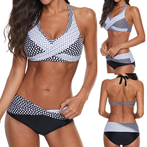 Holzkary Women's Sexy Padded Push Up Bikini Set Halter Racerback Bathing Suits Two Pieces Swimsuit Swimwear(S.Black)