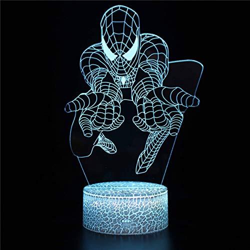 3D noche luz para niños Spider-Man d 3D LED lámpara noche luz decorativa regalo dibujos animados juguetes luminaria batería USB