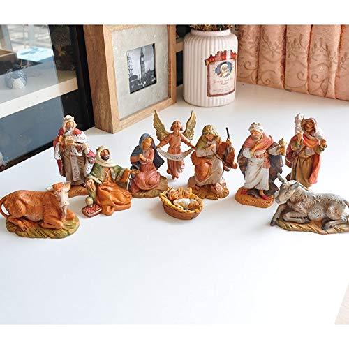 Zenghh 10 unids Jesús Natividad Estatua Hijo de Dios Evangelio Bebé Souvenir Tres Hombres Herder Estatuilla Santa Madre María Joyce Modelo Muñeca Religioso Católico Italiano Retro OB
